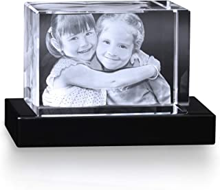 Crystal Impressions - Small Rectangle Customized Crystal Photo Picture with 3D Laser Engraved Photo Inside Crystal to Personalize Your Picture As A Gift or Paperweight & Includes Free Lighted Base