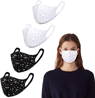 Genovega 4 Pack Fashion Cotton Face Mask Reusable for Women Men Washable Designer Cloth