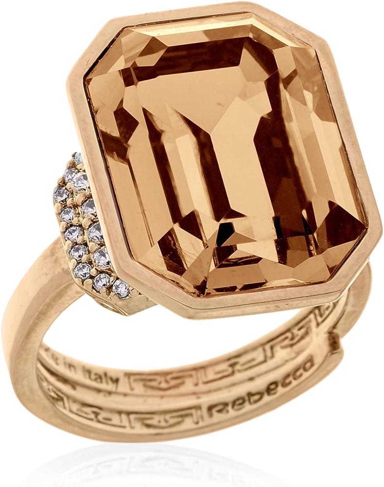 Rebecca anello in bronzo dorato per donna con pietre swarovski BELAOC01_O-UNICA