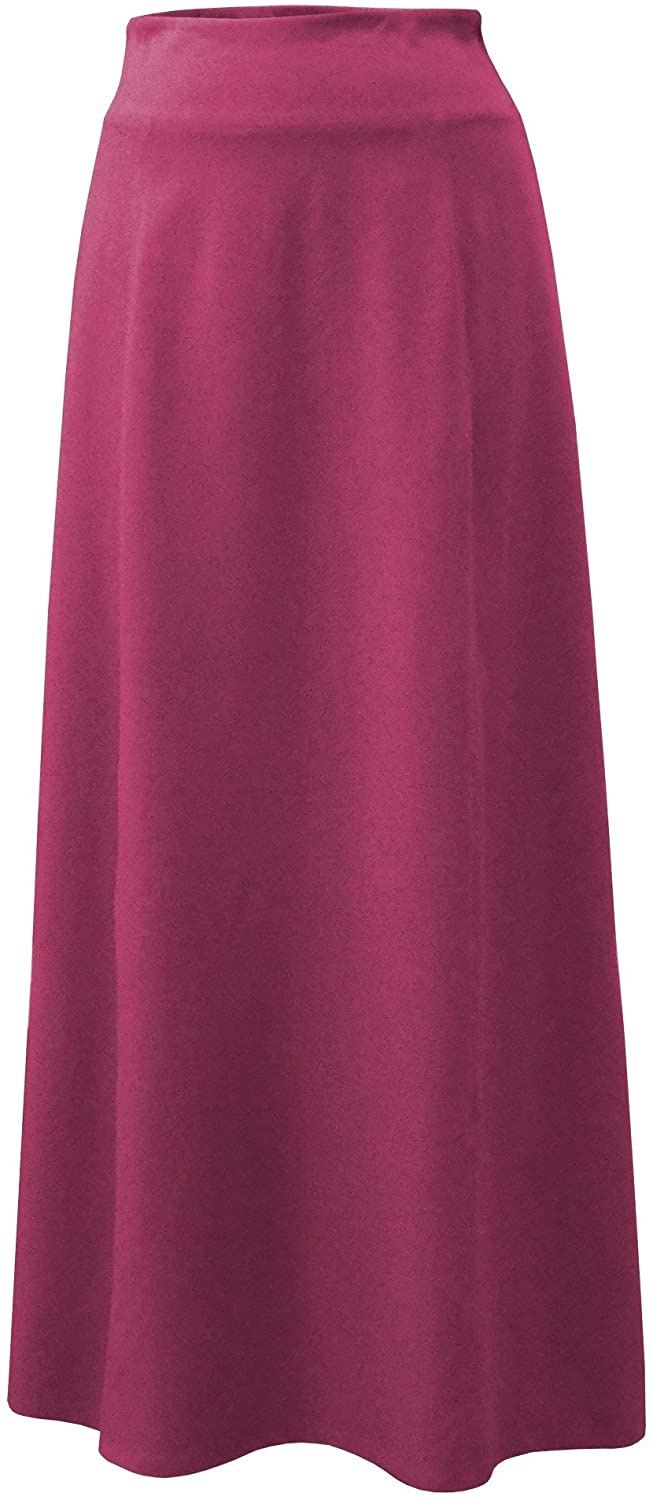 Baby'O Women's Basic Stretch Cotton Knit Panel Maxi A-Line Skirt