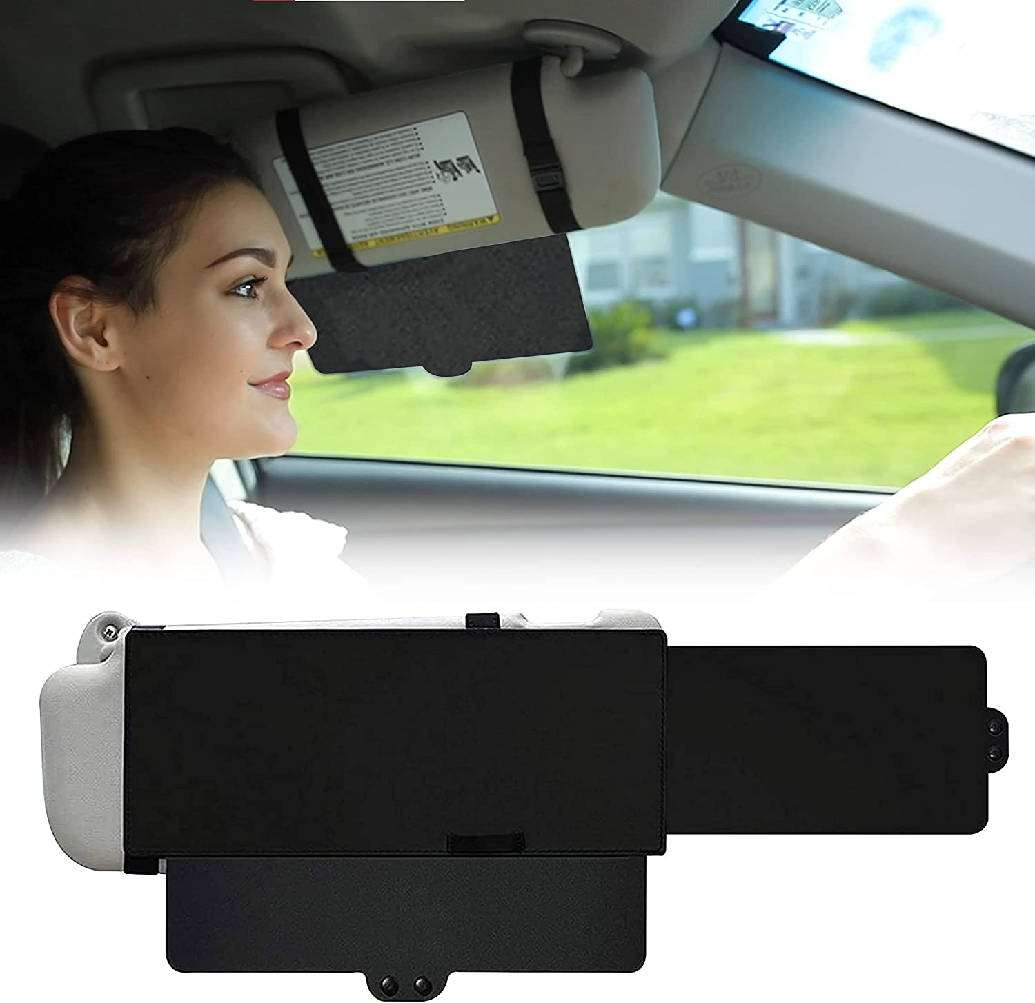 EcoNour Car Sun Visor Extender | One Pull Down Sunshade and One Side Sunshade Sun Block Piece | Protects from Sun Glare, UV Rays, Snow Blindness | Universal Fit for Most of The Cars