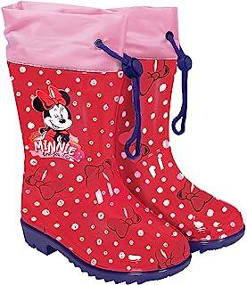 PERLETTI Botas de Agua Niña Minnie Mouse con Lunares - Calzados de Lluvia Niñas Disney Minni con Suela Antideslizante - Bo...