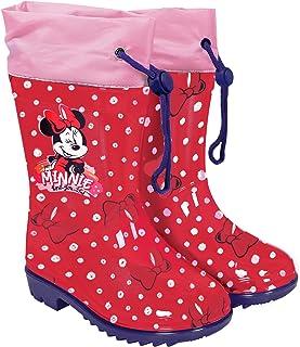 PERLETTI Bottes de Pluie Minnie Mouse Rouge à Pois Enfant - Bottines Fille Disney Minni pour Ecole Semelle Antidérapante -...