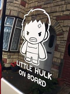 myrockshirt® Aufkleber Little Hulk on Board Junge 17 cm Autoaufkleber Auto Sticker Lack Heckscheibe Baby Bord aus Hochle
