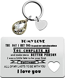 Anniversary Card Gifts for Boyfriend Girlfriend Couple Gift Jewelry Engraved Wallet Inserts Card Keychain Set Deployment G...