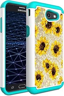 Galaxy J3 2017/J3 Prime/Amp Prime 2/Express Prime 2/J3 Emerge/J3 Eclipse/Luna Pro/Sol 2 Case, AMOOK Hybrid Dual Layer Protective Case for Samsung Galaxy J3 2017,Sunflower
