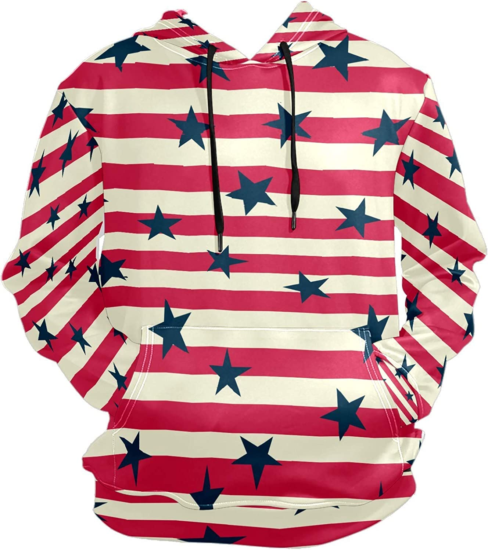 Men's Sport Hoodie Retro Stars Red Stripes Big and Tall Hoodies for Men Women Oversized Hooded Sweatshirt Hip Hop Pullover Hoodie Midweight Hood for Boys Girls