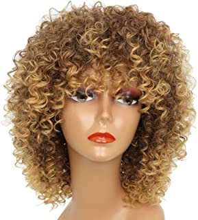 MISSWIG Short Kinky Curly Wigs for Black Women Blonde Mixed Brown Synthetic Female Afro Full Wigs