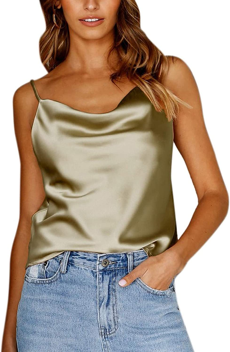 Portazai Womens Camisole Cami Top Sexy Strappy Sleeveless Tees Shirts Casual Bassic Solid Tanks Slim Fit Vest Tops