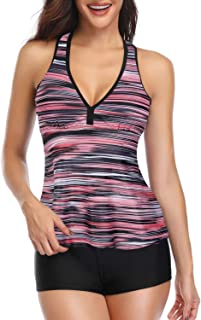 Tempt Me Women 2 Piece V Neck Print Racerback Tankini Swimsuit with Boyshort Bottom