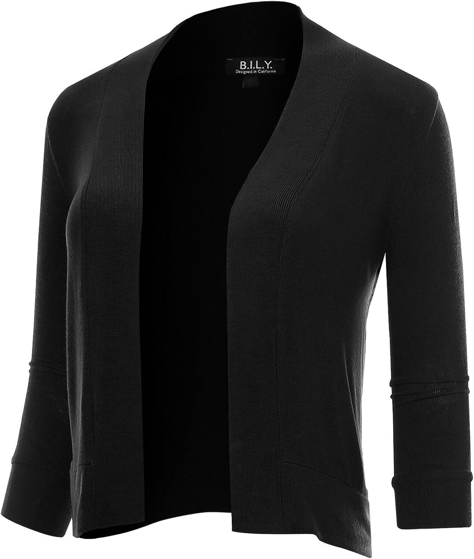 BH B.I.L.Y USA Women's Classic Open Front Cropped 3 4 Sleeve Cardigan Black XXXLarge