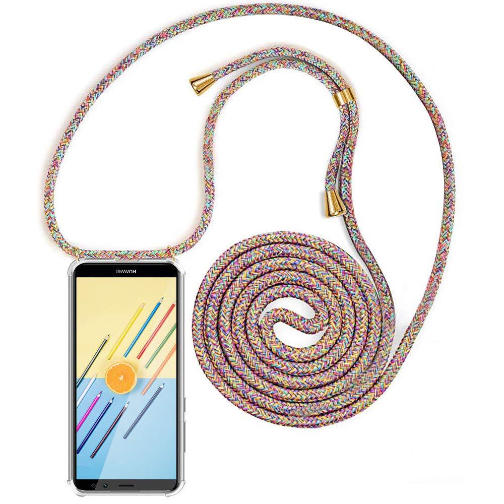 Arcoiris Case con Correa Colgante//TPU Necklace con Banda con Cordon para Llevar en el Cuello MXKOCO Carcasa de movil con Cuerda para Colgar Huawei Honor 20 Lite