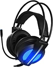 Gaming Headset with Mic,Vibration Surround Sound Over Ear Headphones with Led Light,Volume/Vibration Control,Wired 3.5MM Jack Gaming Headphones for Xbox One,PS4,PC,Laptops,Mac,Ipad,iPhone (Black1)
