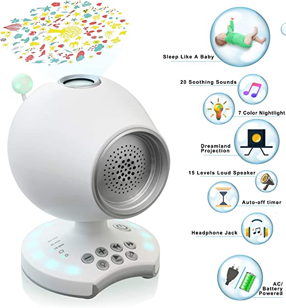 White Noise Sound Machine Baby Sleep Soother Night Light Dreamland Projector 20 Non Looping Nature Sounds Lullaby Auto Off Timer Headphone Jack Battery Powered Portable Travel Office Bedroom