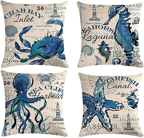 ULOVE LOVE YOURSELF Sea Throw Pillow Covers Only Ocean Theme Seahorse Octopus Starfish Crab Pattern Beach House Decorative Cushion Cover Coastal Pillowcases 18 18 4Pack Ocean Theme