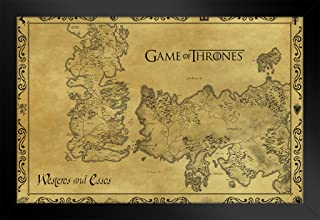 Pyramid America Game of Thrones Antique Map Westeros TV Show Black Wood Framed Poster 20x14