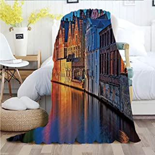 Medieval Decor,Throw Blankets,Flannel Plush Velvety Super Soft Cozy Warm with/Night Shot of Historic Middle Age Building along the River in Bruges Heritage Old Town Photo/Printed Pattern(70
