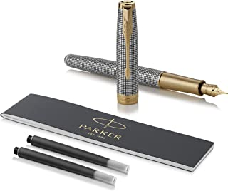 PARKER 派克 SONNET 卓尔系列 钢笔 纯银格子纹带金夹 实心18k金细笔尖