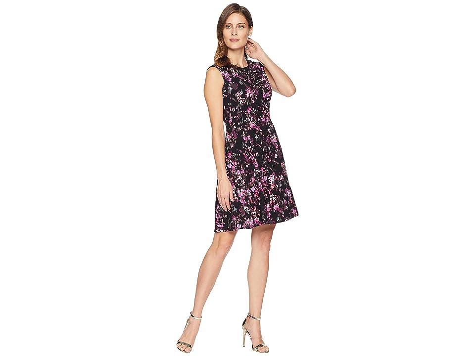 London Times Cap Sleeve Scuba Crepe Fit Flare Dress (Black/Pink) Women