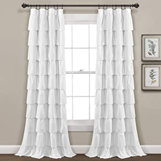 """Lush Decor Ruffle Window Curtain-Shabby Chic Farmhouse Style Panel for Living, Dining Room, Bedroom (Single), 84"""" x 50"""", White, L"""