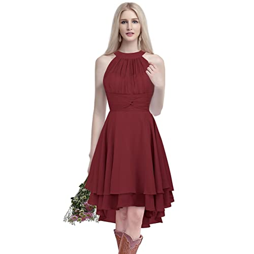 e9e14b438f31 ThaliaDress Short Chiffon Halter Hi Lo Country Bridesmaid Dress Prom Gown  T052LF