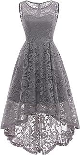 MUADRESS Women`s Vintage Floral Lace Sleeveless Hi-Lo Cocktail Formal Swing Dress