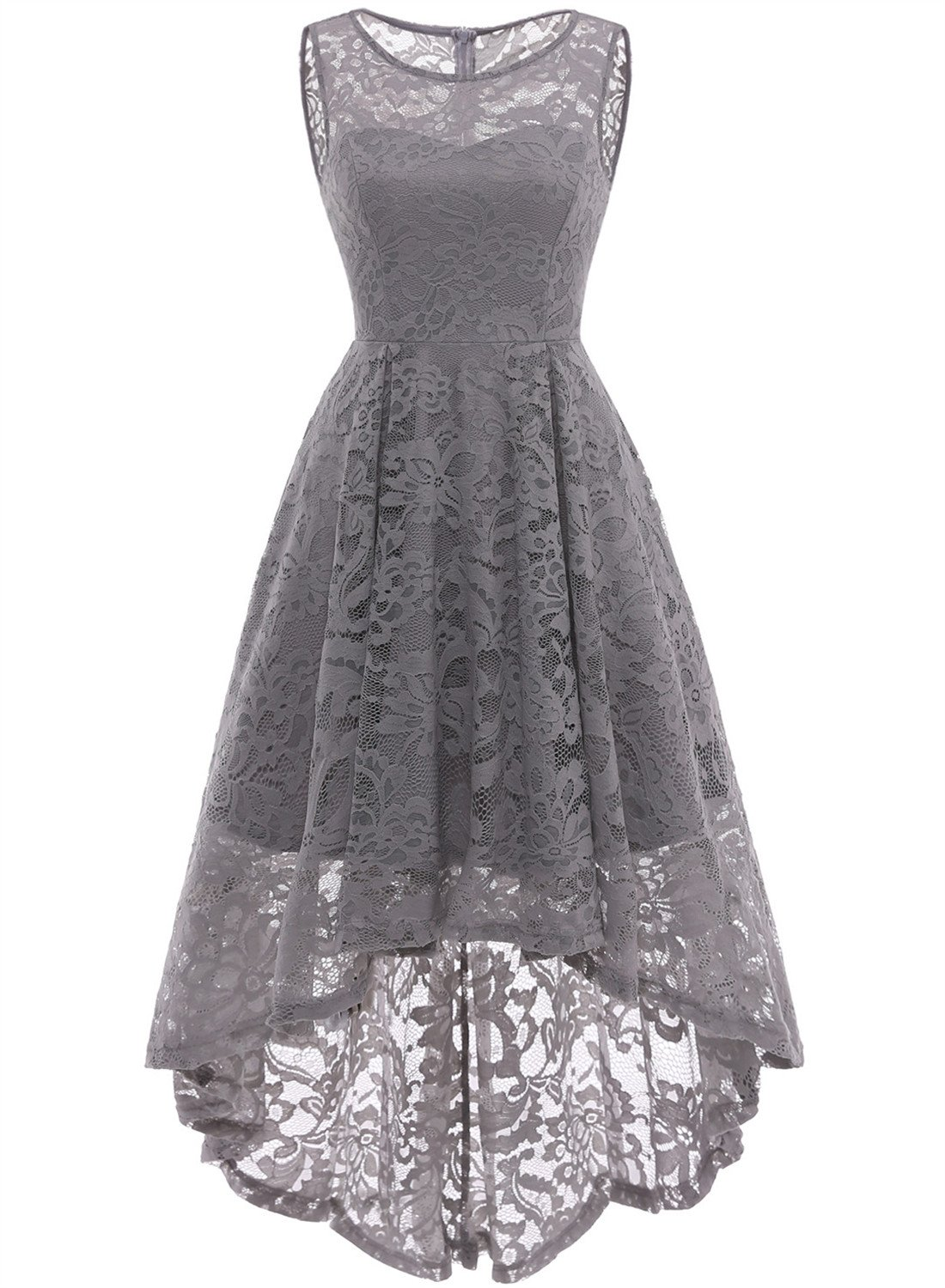 Mother Of The Bride Dresses - Women's Vintage Floral Lace Sleeveless Hi-Lo Cocktail Formal Swing Dress