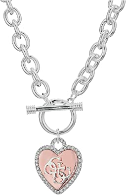 GUESS - Pave Framed Heart Toggle Necklace with 4 G Logo