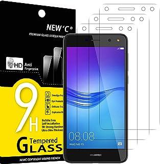 NEW'C 3-pack skärmskydd med Huawei Y6 (2017) – Härdat glas HD klar 9H hårdhet bubbelfritt