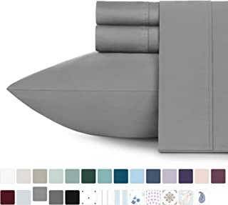 400 Thread Count 100% Cotton Sheet Set, Slate Grey Queen Sheets 4-Pc Long-staple Pure..