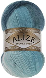 20% Wool 80% Acrylic Soft Yarn Alize Angora Gold Batik Thread Crochet Lace Hand Knitting Turkish Yarn Lot of 4skn 400gr 2408yds Color Gradient 1892