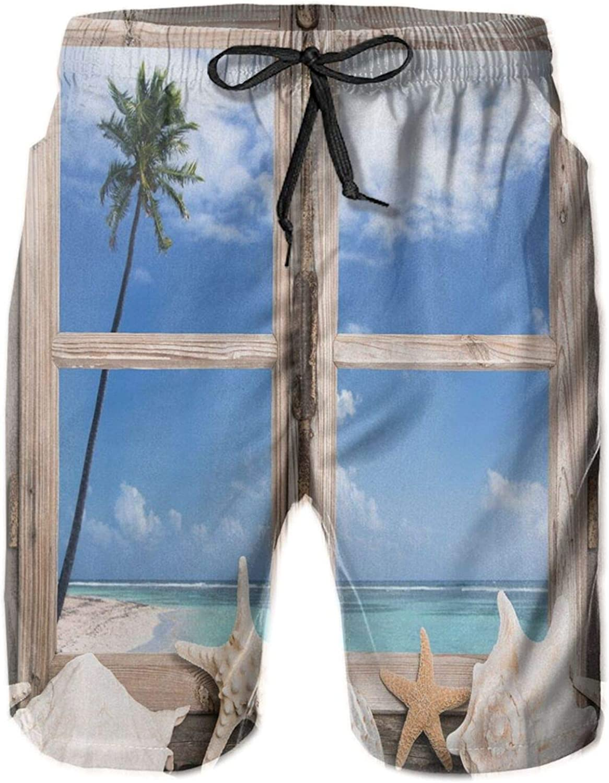 Summer Holiday Wih Seashells Starfish and Palm Tree Ocean Print Mens Swim Trucks Shorts with Mesh Lining,M