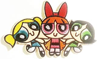 Powerpuff Girls Cartoon Patch Embroidered Iron on Hat Jacket Hoodie Backpack Ideal for Gift /12.2cm(w) X 7.7cm(h)