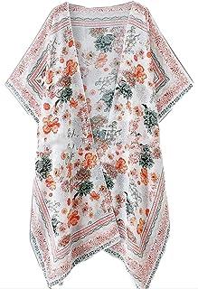 Women's Sheer Chiffon Floral Kimono Cardigan Blouse Loose Tops Outwear