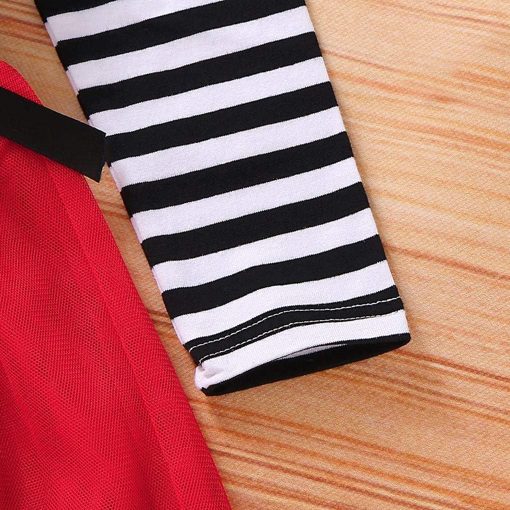 letter54 Cotone Stampa Principessa Tulle Set Gonna a Rete Stampata a Maniche Lunghe per Bambini a Forma di Cartone Animato con Babbo Natale e Set di Cravatte per Capelli