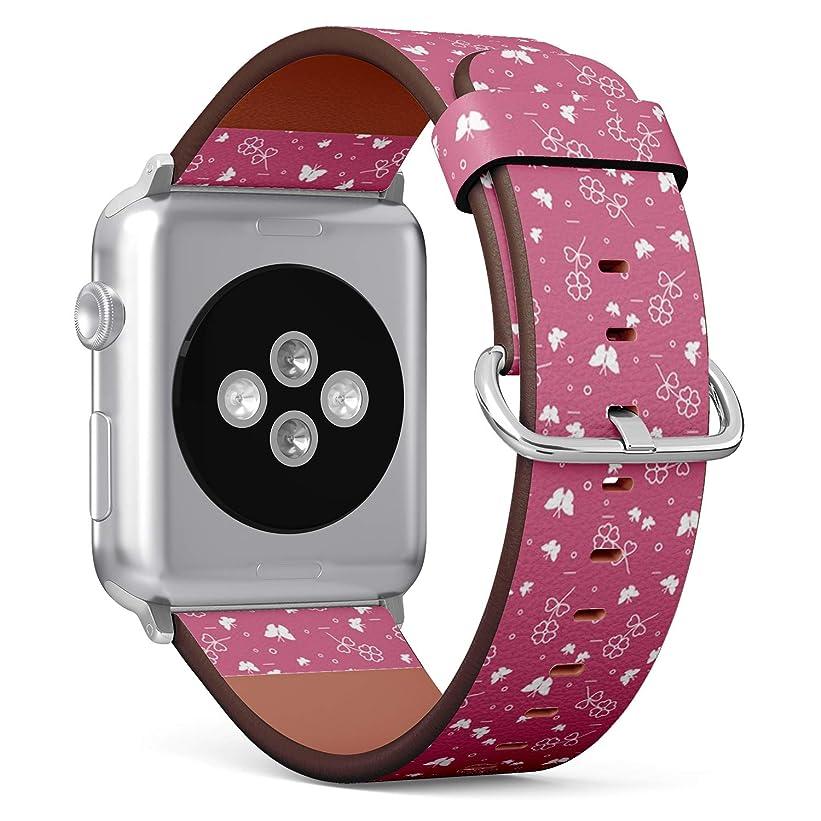政治家打撃小道コンパチブル Apple Watch iWatch 42mm & 44mm - 本革レザーストラップ, 向けのバンド交換ストラップです コンパチブル アップルウォッチ バンド (シャムロック蝶サン)
