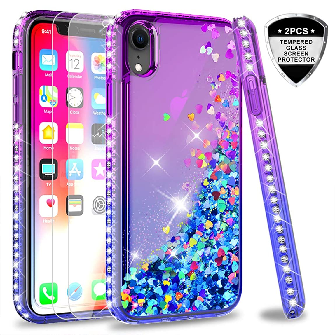 iPhone XR (2018) Glitter Case with Tempered Glass Screen Protector [2 Pack] for Girls Women, LeYi Luxury Diamond Quicksand Liquid TPU Gradient Phone Case for Apple iPhone XR (6.1 inch) Purple/Blue yynivtr374522