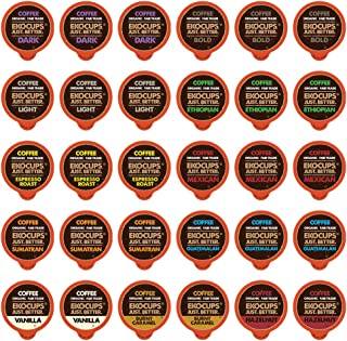 EKOCUPS Organic & Fair Trade Gourmet Hot or Iced Coffee Single Serve Cups for Keurig K Cup Brewer Variety Pack Sampler, 30 Count