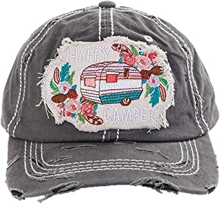 Womens Baseball Cap Vintage Distressed Embroidered Patch Saying Hat