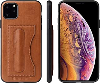 Protect Your Phone, Fierre Shann Full Coverage Protective Leather Case with Holder & Card Slot for iPhone XI 2019 for Cellphone. (Color : Brown)