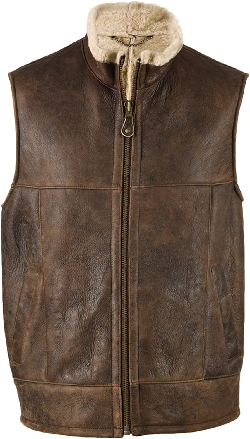 Bushga Mens Luxury Full Sheepskin Leather Gilet Body Warmer Sizes 38 48 At Amazon Men S Clothing Store