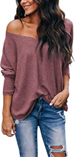 iGENJUN Women`s Casual V-Neck Off-Shoulder Batwing Sleeve Pullover Sweater Tops