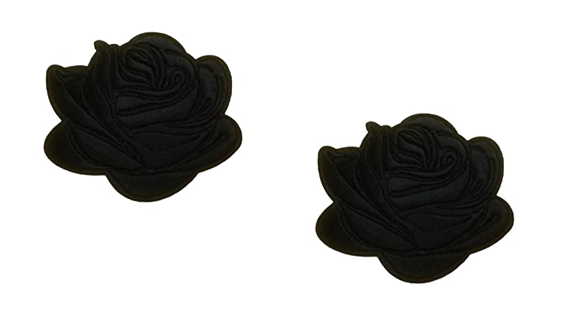 2 pieces BLACK ROSE Iron On Patch Fabric Applique Flower Motif Children Decal 2.7 x 2.5 inches (6.8 x 6.3 cm)