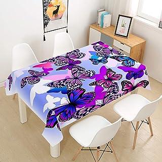 Chickwin Nappe en Polyester Rectangulaire Imprimé Papillon Noble 3D avec Revêtement Imperméable, Anti Tache Lavable et Fac...