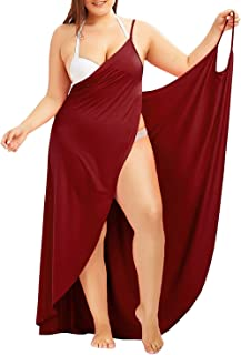 db95ec1dda Fadalo Plus Size Spaghetti Strap Cover Up Beach Backless Wrap Long Dress