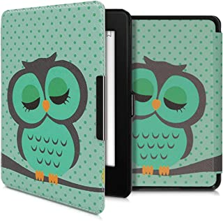 kwmobile Case Compatible with Amazon Kindle Paperwhite (10. Gen - 2018) - PU e-Reader Cover - Sleeping Owl Turquoise/Brown...