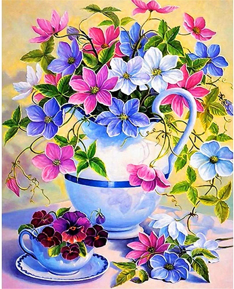 Animer and price revision DIY Sale price 5D Diamond Painting Kits Full White Flowers Pink Drill Blue