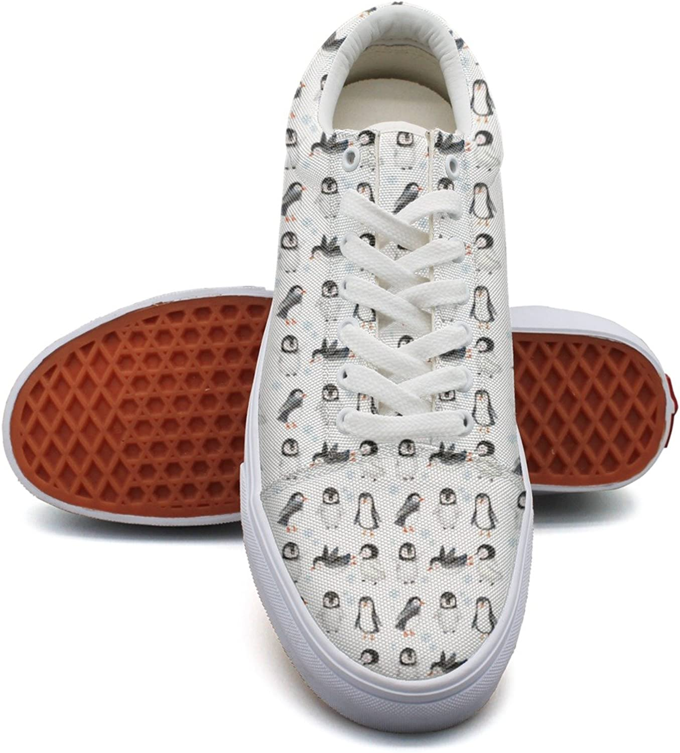 Winter Snow Arctic Animals Cute Baby Penguins Womens Fashion Canvas Low Top Trendy Sneakers shoes for Women's