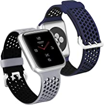 UMAXGET Compatible with Apple Watch Series 4 Band 42mm/44mm 38mm/40mm Series 5, 2-Pack Soft Silicone Breathable Sport Band Compatible with iWatch Series 3/2/1 for Men Women