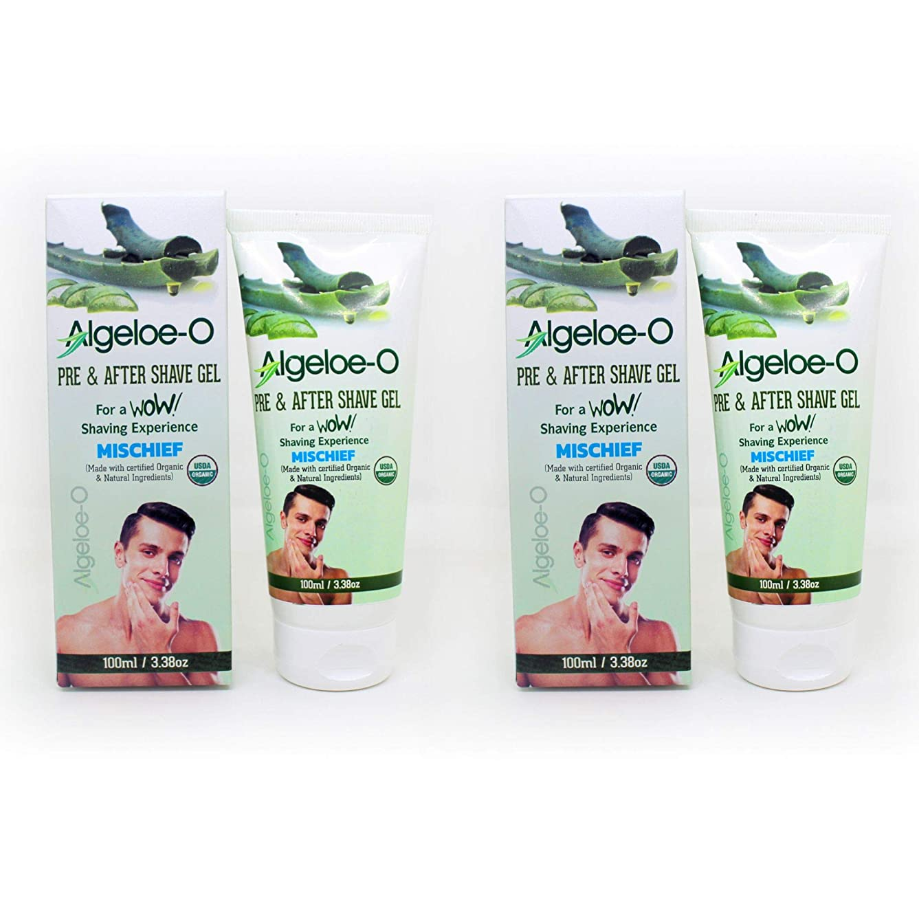 個人リアル昼間Aloevera Pre And After Shave Gel - Algeloe O Made With Certified USDA Organic And Natural Ingredients - Mischief 100 ml (3.38 Oz.) Pack Of 2